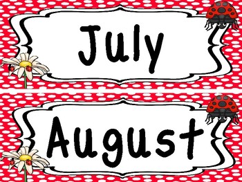 Ladybugs themed Months Labels. Classroom Bulletin Board Set.