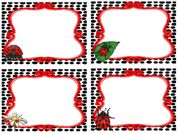 Ladybugs themed Printable Blank Label Cards. Class Accessories.