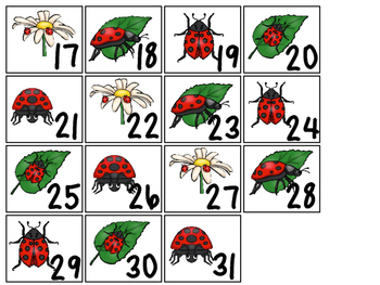 Ladybugs themed Printable Calendar Pieces Classroom Bulletin Board Set.