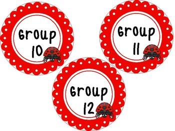 Ladybugs themed Printable Circle Group Labels. Classroom Bulletin Board Set.