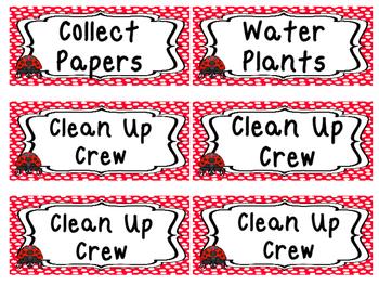 Ladybugs themed Printable Class Jobs Labels Classroom Bulletin Board Set.