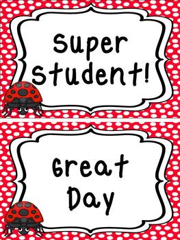 Ladybugs themed Printable Classroom Accessories and Decor Bulletin Boa