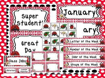 Ladybugs themed Printable Classroom Accessories and Decor Bulletin Boa