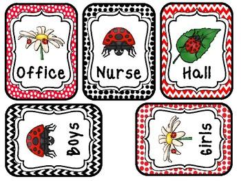 Ladybugs themed Printable Hall Passes. Classroom Bulletin Board Set.