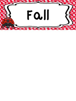 Ladybugs themed Season Labels. Classroom Bulletin Board Set.