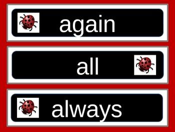 Ladybug Word Wall, Dolch 220 Words