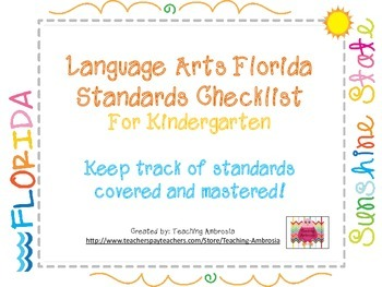 Laguage Arts Florida Standards Checklist for Kindergarten