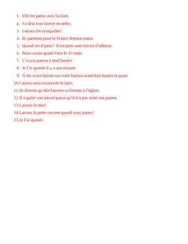 Laisser, Partir, Quitter French verbs worksheet