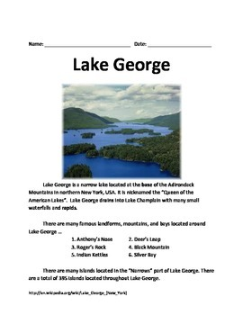 Lake George - Informational Article Facts History Questions Vocabulary Lesson