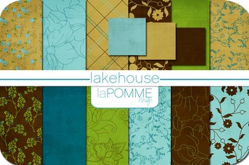 Lake House Autumn Patterned Digital Paper Pack