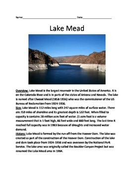 Lake Mead - USA - Informational Article - questions vocab review facts