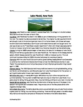 Lake Placid New York - Review Article Questions Vocabulary Word Search
