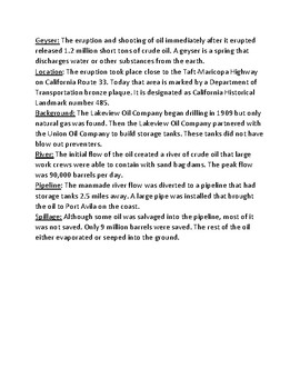 Lakeview Gusher - largest oil spill lesson facts information questions