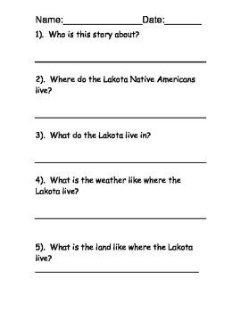 Lakota Native American Reading Passage