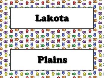 Lakota (Sioux) Vocabulary Strips - Native Americans - Owls Theme