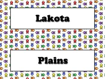 Lakota (Sioux) Vocabulary Strips - Native Americans - Owls Theme