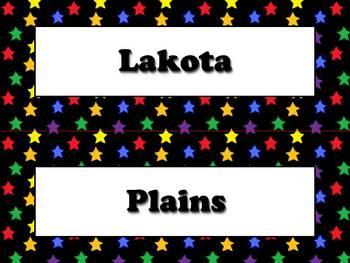 Lakota (Sioux) Vocabulary Strips - Native Americans - Superstars Theme