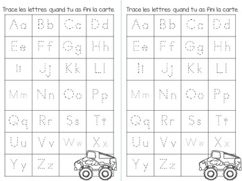Alphabet Tracing Cards in French (La rue d'alphabet)