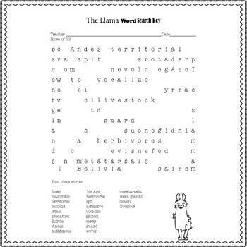 Lama Nonfiction Word Search and Key Vocabulary Worksheet No Prep