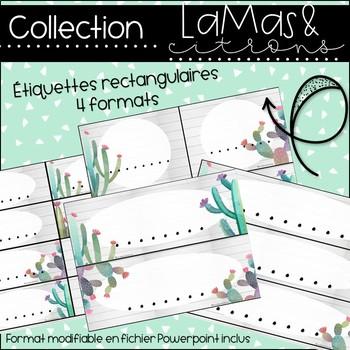 Lamas et citrons - Étiquettes rectangulaires