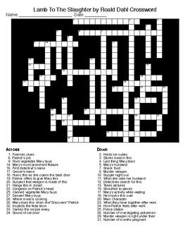 Lamb To The Slaughter by Roald Dahl Crossword&Word Search w/KEYS