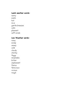 Lamb and Lion Weather Adjectives for March/Spring