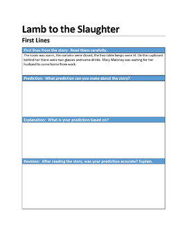 """""""Lamb to the Slaughter"""" First Lines Pre-reading Activity"""