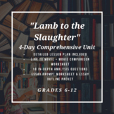 Lamb to the Slaughter Four Day Comprehensive Unit