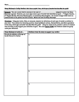 Lamb to the Slaughter - Real World Application (CCSS Aligned)