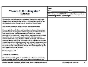 """""""Lamb to the Slaughter"""" by Roald Dahl: Annotation Organizer"""