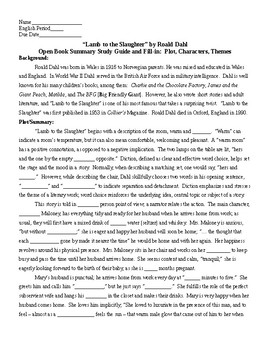 Lamb to the Slaughter by Roald Dahl OPen Book Summary Fill-in and KEY