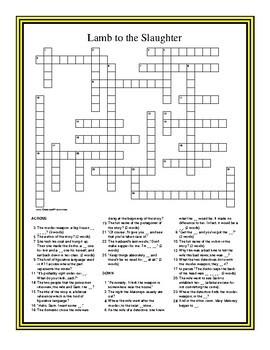 Lamb to the Slaughter by Roald Dahl Scavenger Hunt and Crossword puzzle Packet