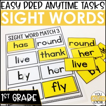 Laminate, Velcro, and Go! Anytime First Grade Sight Word Matching Tasks