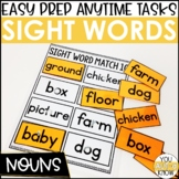 Laminate, Velcro, and Go! Anytime Nouns Sight Word Matching Tasks