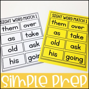 Laminate, Velcro, and Go! Anytime Second Grade Sight Word Matching Tasks