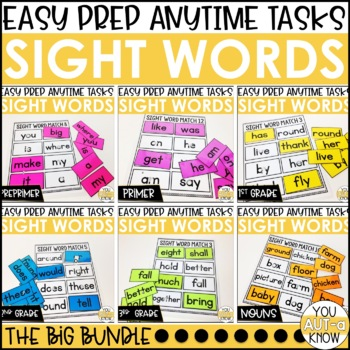 Laminate, Velcro, and Go! Anytime Sight Word Matching BUNDLE
