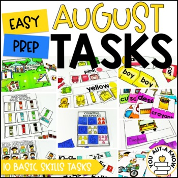 Laminate, Velcro, and Go! Seasonal Work Tasks: AUGUST EDITION