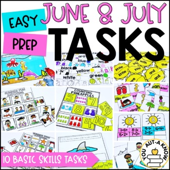 Laminate, Velcro, and Go! Seasonal Work Tasks: JUNE AND JULY EDITION