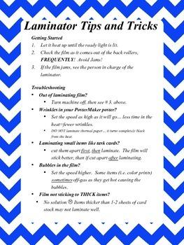 Laminator Tips and Tricks Sign