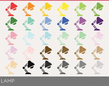 Lamp Digital Clipart, Lamp Graphics, Lamp PNG, Rainbow Lam