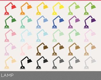 Lamp Digital Clipart, Lamp Graphics, Lamp PNG, Rainbow Lamp Digital Files