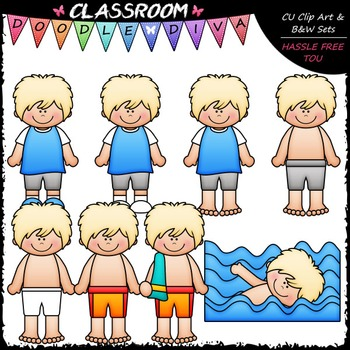 Lance Gets Dressed For Swimming Clip Art - Sequence Clip Art & B&W Set