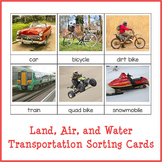 Land, Air, and Water Transportation Sorting Cards