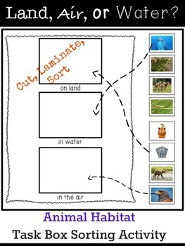 Land, Air, or Water? Animal Habitat Task Box