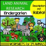 Land Animal Research: Description and Habitat Kindergarten