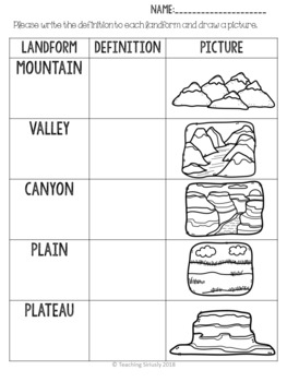 Land Form Worksheets- Define and Draw