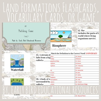 Land Formations Review: Flashcards, Vocabulary Cards, or Matching Game