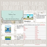Land Formations Review: Flashcards, Vocabulary Cards, or M