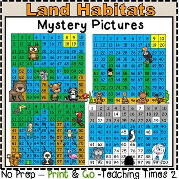 Land Habitats Hundreds Charts l SCIENCE l MATH CENTERS