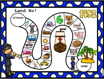 Land Ho!  Christopher Columbus CVC Words NO PREP Board Game